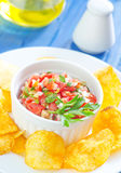 Nachos with salsa Royalty Free Stock Image