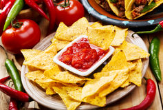 Nachos with salsa Stock Image