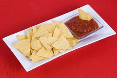 Nachos and salsa  sauce Royalty Free Stock Images