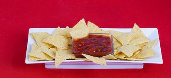 Nachos and salsa  sauce Royalty Free Stock Photography