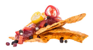 Nachos and Salsa Sauce on white Royalty Free Stock Image