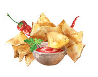Nachos and salsa sause. Mexican national food. Royalty Free Stock Image