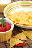 Nachos with salsa and sour cream Royalty Free Stock Photo