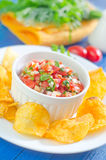 Nachos with salsa Royalty Free Stock Images