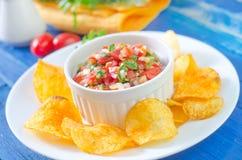 Nachos with salsa Royalty Free Stock Image
