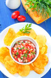 Nachos with salsa Royalty Free Stock Photos