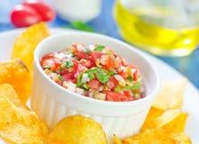 Nachos with salsa Stock Photo