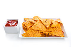Nachos and sauce Royalty Free Stock Image