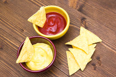 Nachos sauces Royalty Free Stock Photo