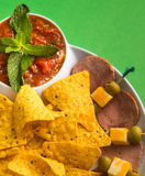 Nachos and sausage Stock Image