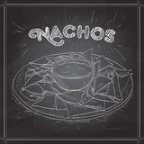Nachos scetch on a black board Royalty Free Stock Photo