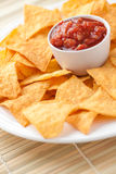 Nachos and tomato dip Stock Photography