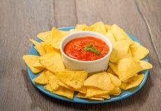 Nachos and tomato dip Stock Images