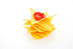 Nachos with tomato sauce. Royalty Free Stock Images