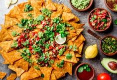 nachos Totopos με τις σάλτσες Μεξικάνικη έννοια τροφίμων Κίτρινα τσιπ totopos καλαμποκιού με τα διαφορετικά salsas σαλτσών - pico Στοκ Φωτογραφίες