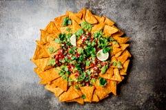 nachos Totopos med såser Mexicanskt matbegrepp Gula havretotopos gå i flisor med olika såssalsor - picodel Arkivbild