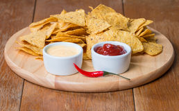 Nachos with various sauces Stock Photography