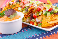 Nachos, vegetables and cheese sauce Royalty Free Stock Image