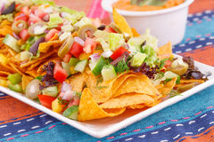 Nachos, vegetables and cheese sauce Royalty Free Stock Photos