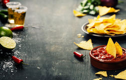 Nachos with Vegetables and dip royalty free stock photography