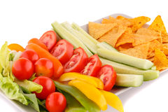 Nachos and vegetables Stock Photography
