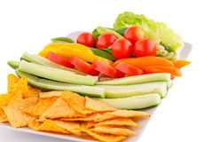 Nachos and vegetables Royalty Free Stock Image