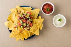 Nachos vegetarianos con las inmersiones de la salsa y de la crema agria Imagen de archivo libre de regalías