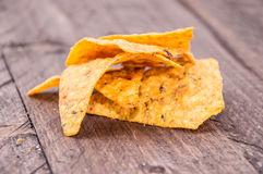 Nachos on wooden background Royalty Free Stock Photos