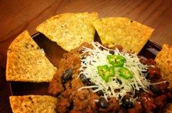 Nachos y chili con carne Fotografía de archivo libre de regalías
