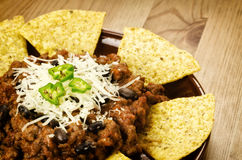 Nachos y chili con carne Foto de archivo