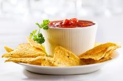 Nachos z salsa Obraz Stock