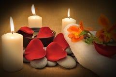 Nachricht für den Badekurort mit Kerze Stockfoto