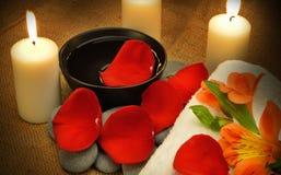 Nachricht für den Badekurort mit Kerze Lizenzfreies Stockfoto