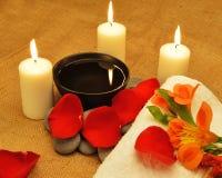 Nachricht für den Badekurort mit Kerze Stockfotografie