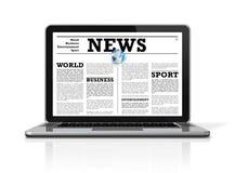 Nachrichten auf einer Laptop-Computer getrennt auf Weiß lizenzfreie abbildung