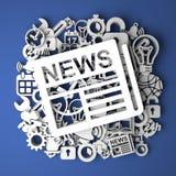 Nachrichten auf handgemachter Dekoration des Papiers Lizenzfreie Stockfotografie
