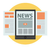 Nachrichten auf Linie Geschäftskonzept-Vektordesign Stockfotos