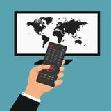 Nachrichten der Welt Vektorillustration mit der Hand, die Fernbedienung hält Intelligentes Konzept des Vektors Fernseh Lizenzfreie Stockfotos