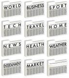 Nachrichten - Ikonen Stockbilder