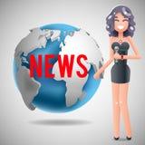Nachrichten-Journalist-Reporting Reporter Female-Mädchen-Charakter-Massenmedium-Symbol auf Weltkugel-Hintergrund-Design-Schablone Lizenzfreie Stockfotos