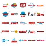 Nachrichten leben, die eingestellten Aufkleberikonen, flache Art brechend lizenzfreie abbildung