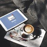 Nachrichten-Mitteilungs-Sendungs-Artikel-Konzept stockbild