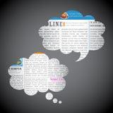 Nachrichten-Papier-Schwätzchen-Luftblase Stockbilder