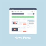 Nachrichten-Portal Wireframe Stockfotos