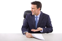 Nachrichten-Reporter auf weißem Hintergrund Stockbilder