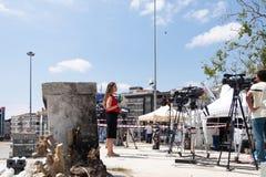 Nachrichten-Reporter in Istanbul lizenzfreie stockfotografie