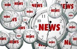 Nachrichten setzen rund um die Uhr Zeit Fliegen-Wortes fest stock abbildung