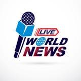 Nachrichten und Tatsachen, die über das Vektorlogo verfasst unter Verwendung Weltnachrichten I berichten Lizenzfreie Stockbilder