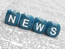 Nachrichten-Würfel-Durchschnitt, der Medien und über Bulletin berichtet stock abbildung