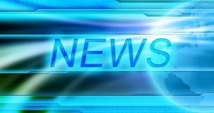 Nachrichtenhintergrundtapete Betiteln Sie NACHRICHTEN in der Mitte der Fahne am blauen Hintergrund Stockfotografie